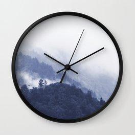 Blue Misty Forest Wall Clock