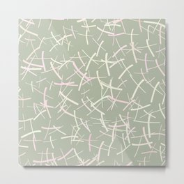 Chaos Crosses in Sage Green, Cream and Pink | Pattern Metal Print