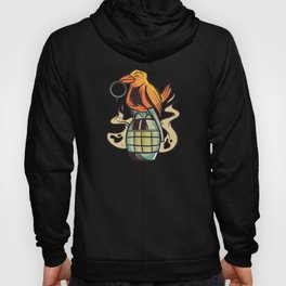 Bird sitting on grenade and pulling string Hoody