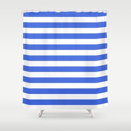 Narrow Horizontal Stripes - White and Royal Blue Shower Curtain