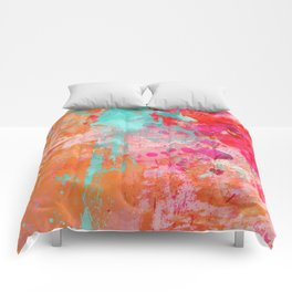 Paint Splatter Turquoise Orange And Pink Comforters