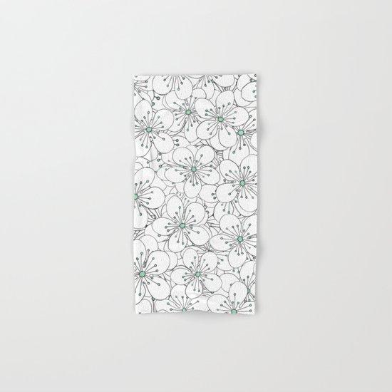 Cherry Blossom Mint Hand & Bath Towel