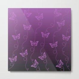 Purple Butterflies Pattern Metal Print