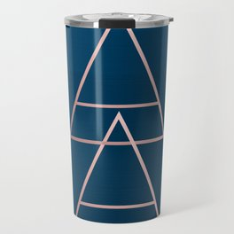 Rule of Thirds Triangles: Rose Gold & Navy Travel Mug