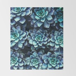 Blue And Green Succulent Plants Throw Blanket
