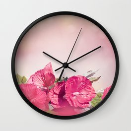 Blossom of Red Hibiscus Flowers Wall Clock