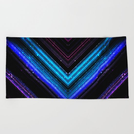 Sparkly metallic blue and purple galaxy lines Beach Towel