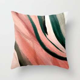 Spring in the City - a pretty mimimal watercolor abstract piece in pinks and greens Throw Pillow