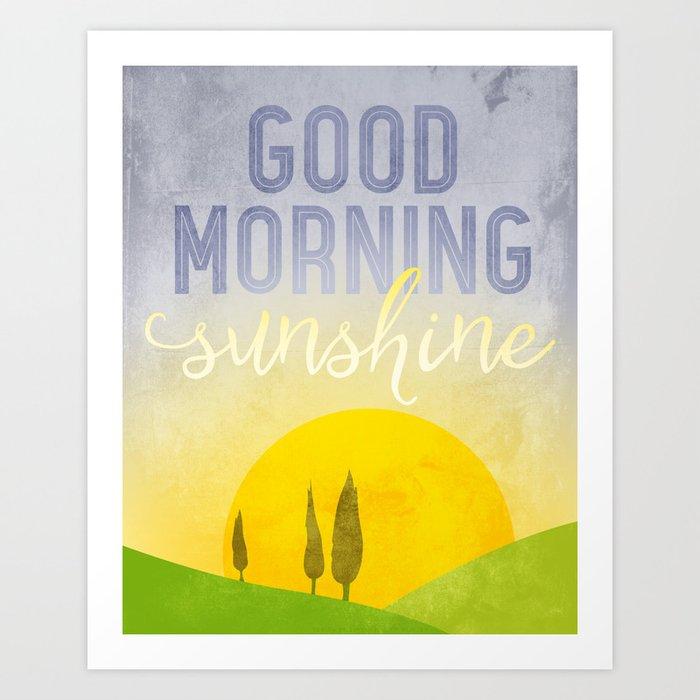 Good Morning Sunshine Kitchen Art Kitchen Wall Decor Modern Landscape Typography Art Art Print By Dimensionsofwonder