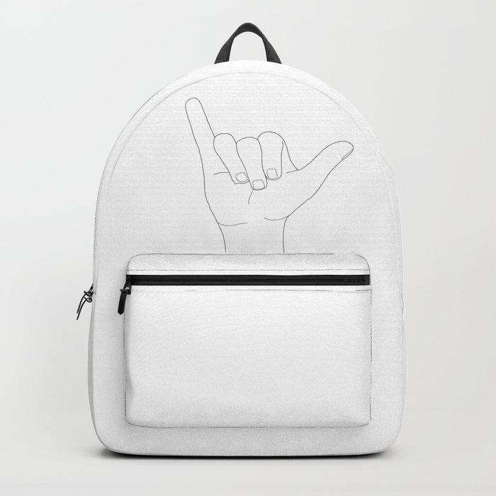 Minimal Line Art Shaka Hand Gesture Rucksack