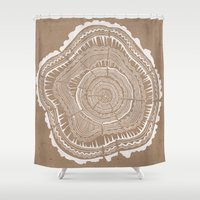 tree rings Shower Curtains featuring Tree Rings – White Ink on Kraft by Cat Coquillette