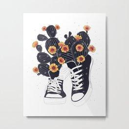 Sneakers with cactus Metal Print