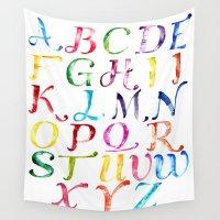 alphabet Wall Tapestries featuring Alphabet by Bridget Davidson