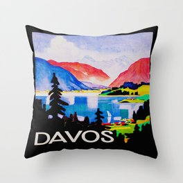 Davos Switzerland - Vintage Travel Throw Pillow