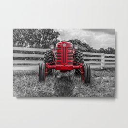 IH 300 Selective Red Crop Tractor Vintage Farming Equipment Antique Farm Machinery Metal Print