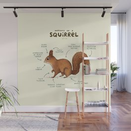 Anatomy of a Squirrel Wall Mural