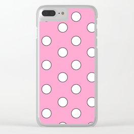 Pink Pastel Polka Dots Clear iPhone Case