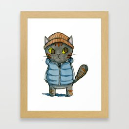 Cat with Beanie and Down Vest Watercolor Framed Art Print