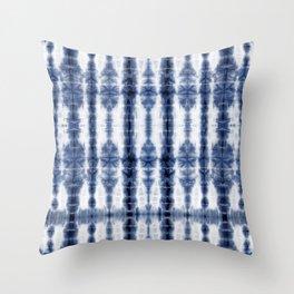 Tiki Shibori Blue Throw Pillow