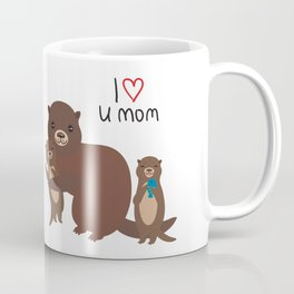 I Love You Mom. Funny brown kids otters with fish on white background. Gift card for Mothers Day. Coffee Mug