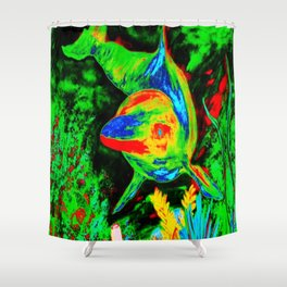 Retro Dolphin Shower Curtain