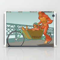 sasquatch iPad Cases featuring Sasquatch: Wild and Woolly Bicycles by Joseph Boquiren