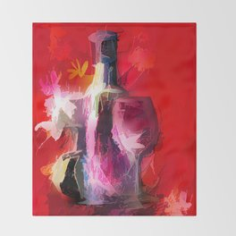 Fun Colorful Modern Wine Art (wine bottle & glasses) #society6 #wine Throw Blanket