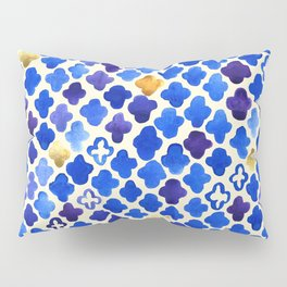 Rustic Watercolor Moroccan in Royal Blue & Gold Pillow Sham