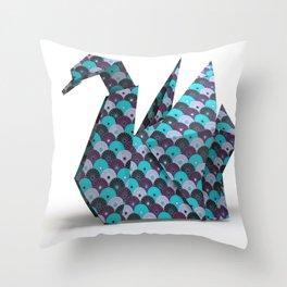 cygne origami Throw Pillow