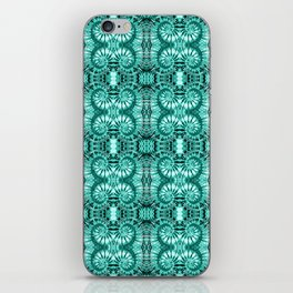 Teal & White Curly Spirals iPhone Skin