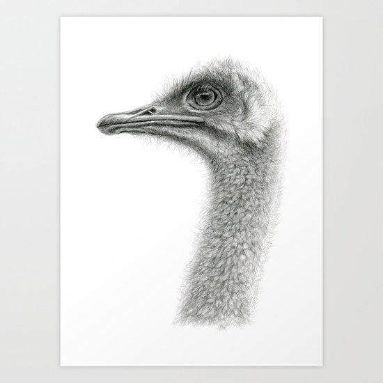 Cute Ostrich Profile SK054 Art Print