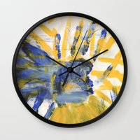 sun and moon Wall Clocks featuring Sun-Moon by Lindsey Quakenbush