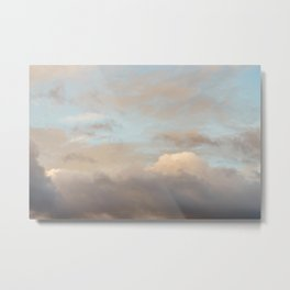 Blue Sky with Orange Clouds Metal Print