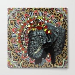 Elephant Red and Gold Indian Yoga Mandala Metal Print