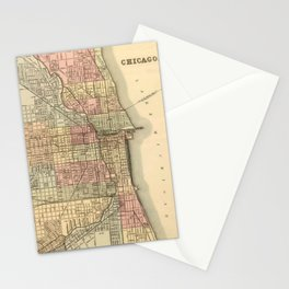 Vintage Map Of Chicago Stationery Cards