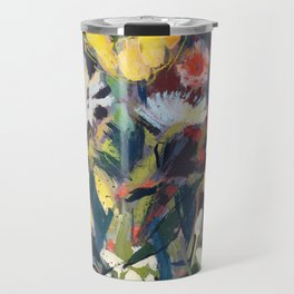 bold blue and yellow blooms Travel Mug