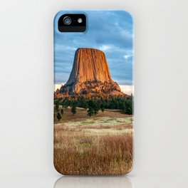 Devils Tower - Giant Monolith Drenched in Sunlight on Autumn Day in Wyoming iPhone Case