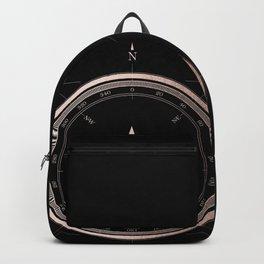 Rosegold Compass on Black II Backpack