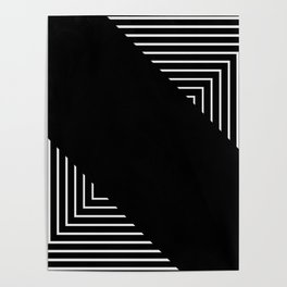 Modern Black and White Geometrical Patterns Poster