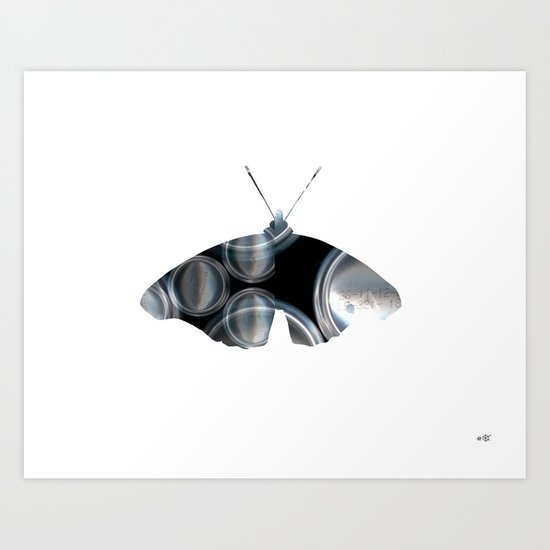 Metal Can Butterfly Collage Art Print
