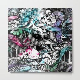 Skulls and fish repeat pattern. Metal Print