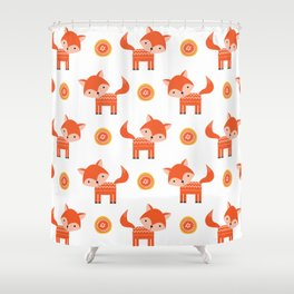Orange Fox Shower Curtain