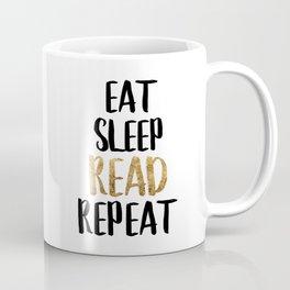Eat Sleep Read Repeat Gold Coffee Mug