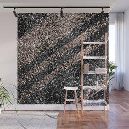Rose Gold Black Glitter Stripes #1 #shiny #decor #art #society6 Wall Mural