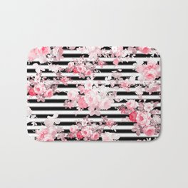 Vintage blush pink floral black white stripes Bath Mat