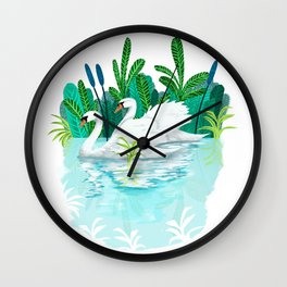 Swans in Love Wall Clock