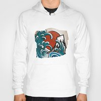 comic Hoodies featuring Hokusai comic by Nxolab