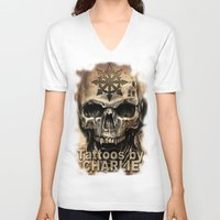 tattoos V-neck T-shirts featuring Tattoos by Charlie by Charlie