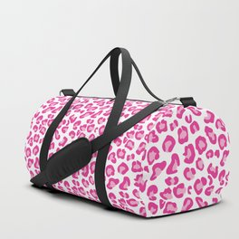Leopard-Pinks on White Duffle Bag