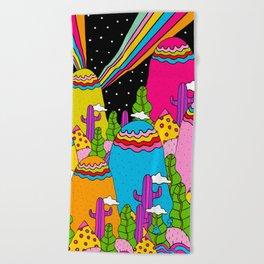 Night Sky Rainbows Beach Towel